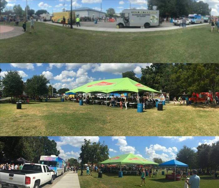 Collage of pictures. Top: food trucks lines up on road. Middle: big SERVPRO tent with people sitting at tables. Bottom: tent