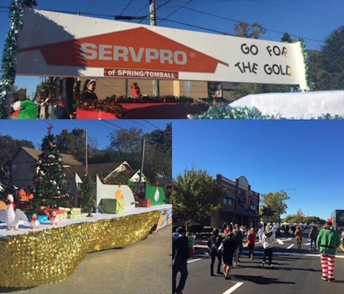 Collage of pictures. Top: Servpro sign with garland on sides. Bottom left: Trailer decorated with xmas. Right: People walking