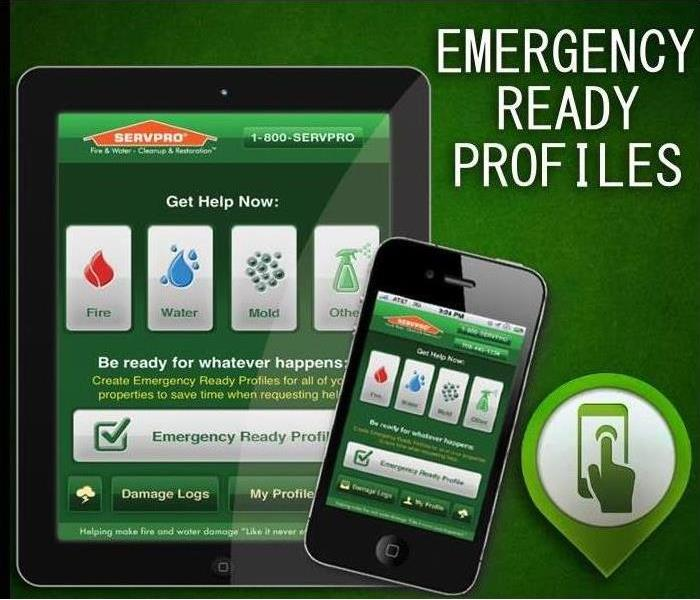 Green background with iPad and iPhone with Emergency Ready Profile in top corner and servpro app on the devices