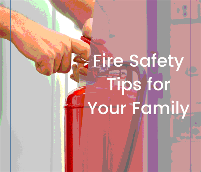 "Fire hydrant in background, hand pulling the clip out, ""fire safety tips for your family"" written over background."