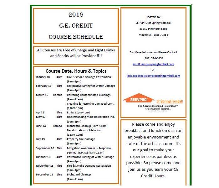 Commercial 2018 Continuing Education Class Schedule